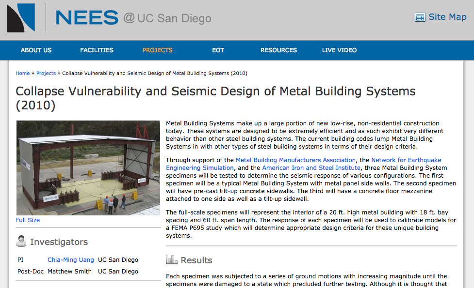 Metal Building Systems Performance in Ground Motion Events
