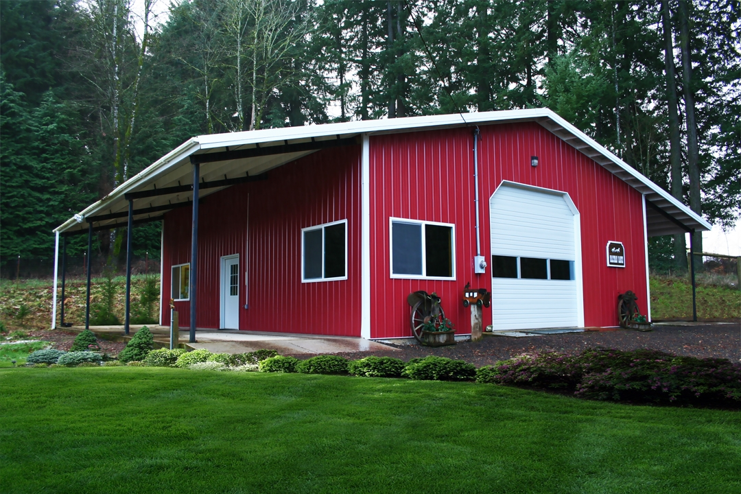Beautiful steel building red with white doors
